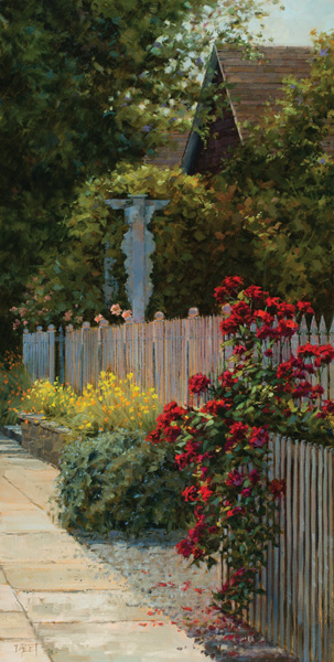 Darcie Peet, Roses, Rosemary and the Garden Gate, oil, 30 x 15.