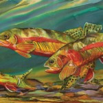 Nancy Cawdrey, Fishing for Gold, dye on silk, 11 x 25.