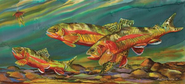 Nancy Cawdrey, Fishing for Gold, dye on silk, 11 x 25.