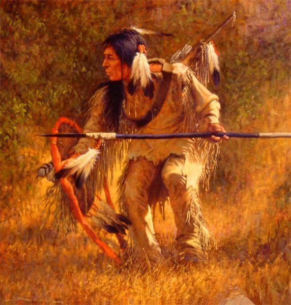 Dan Bodelson, Hunter, oil, 36 x 36.
