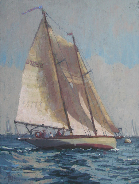 Debra Huse, Historic Newport Harbor Regatta, oil, 14 x 11.