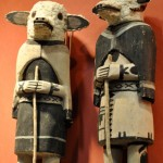 Hopi Sheep Kachinas, circa 1920, cottonwood.