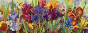 Nancy Cawdrey, Iris Cantata, dye on silk, 19 x 50.