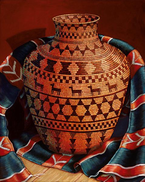 Marty LeMessurier, Weavings, oil, 30 x 24.