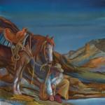 Nancy Cawdrey, Night Tracker, dye on silk, 14 x 14.