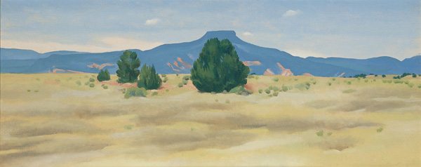 Georgia O'Keeffe, Ghost Ranch Landscape, oil, 12 x 30.