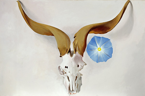 Georgia O'Keeffe, Ram's Head, Blue Morning Glory, oil, 20 x 30.
