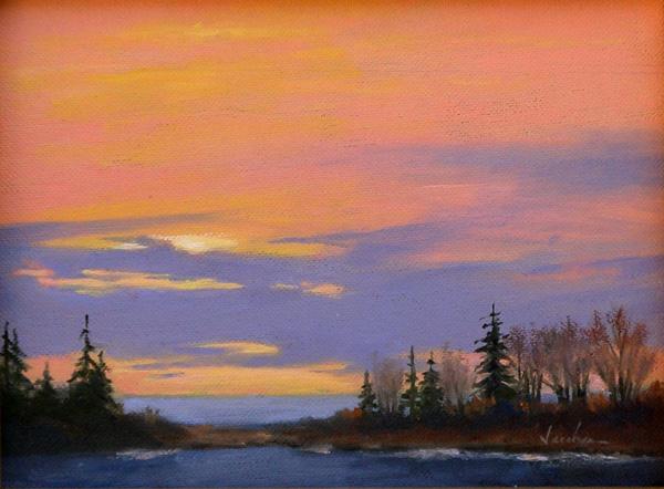 Patricia Jacobsen, Dusk, oil, 6 x 8.