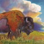 Nancy Cawdrey, Prairie Thunder, dye on silk, 11 x 12.