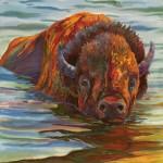 Nancy Cawdrey, River Crossing, dye on silk, 21 x 21.