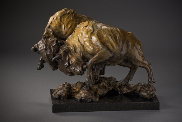 Sherry Salari, One Bull's Intrusion, bronze, 12 x 16 x 9.