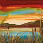 Nancy Cawdrey, Sky Lights, dye on silk, 11x 31.