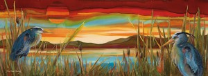 Nancy Cawdrey, Sky Lights, dye on silk, 11x 31.