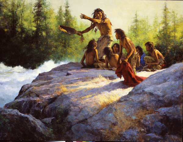 Howard Terpning, Mystery of the Underwater People, oil, 40 x 52.