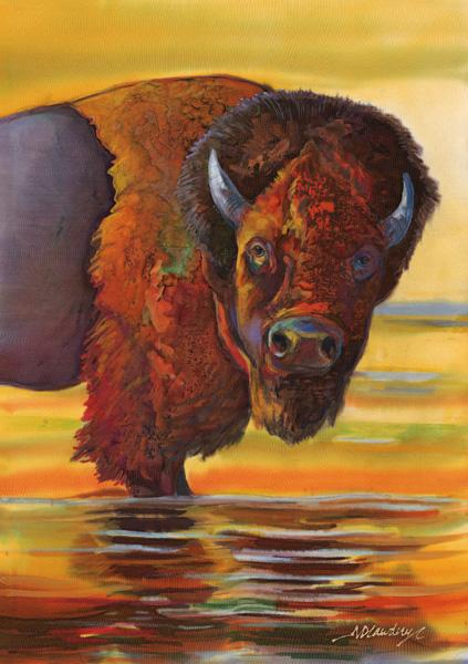 Nancy Cawdrey, Yellowstone Reflections, dye on silk, 14 x 10.
