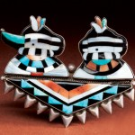 Zuni Pin, sterling/turquoise/spiny oyster/mother of pearl/jet.