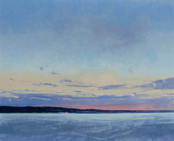 Ben Bauer, White Bear Lake at Dawn (Winter) oil, 26 x 32.