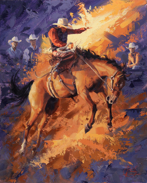 Jim Connelly, Blazing Saddle, oil, 16 x 20.