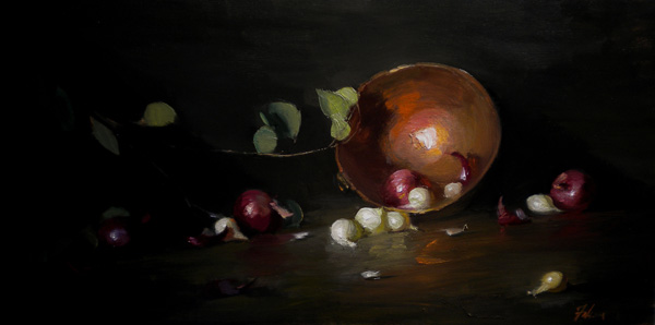 Kelli Folsom, Onions and a Copper Bowl, oil, 12 x 24.