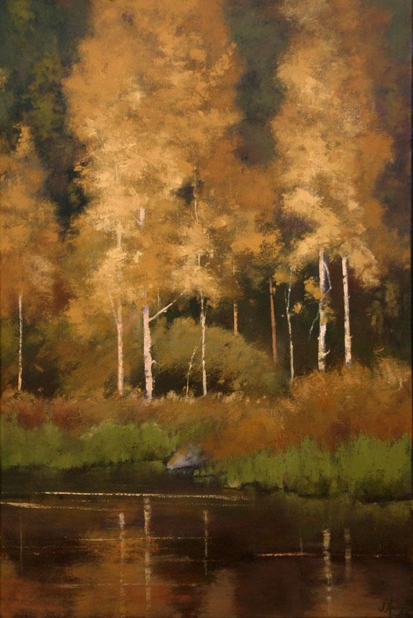 Shanna Kunz, Aspen Seranade, oil, 30 x 20.