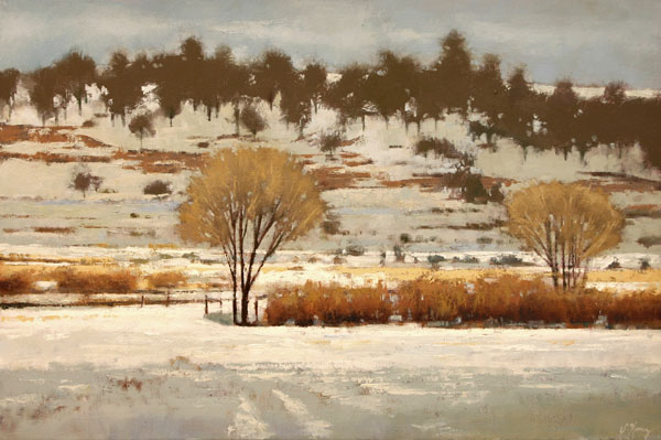 Shanna Kunz, Santa Fe Winter, oil, 20 x 30.
