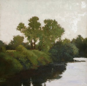 Shanna Kunz, The River's Edge, oil, 20 x 20.