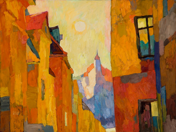 Larisa Aukon, Six Hours in Stockholm, oil, 30 x 40.