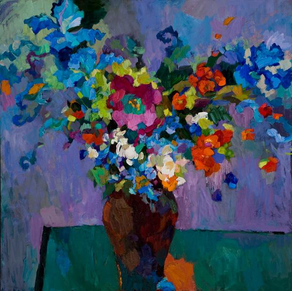 Larisa Aukon, Until the Night is Over, oil, 30 x 30.
