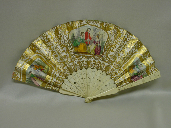 Fan, Spain, late 18th century, paper/paint/gold leaf/ivory, 9 inches high.