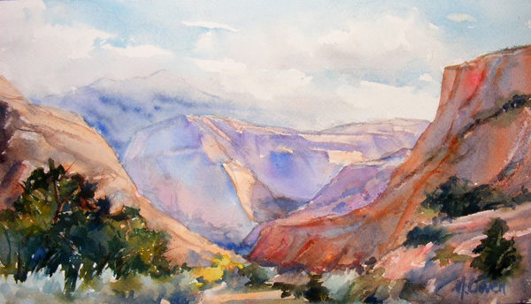 Marsha Owen, Canyon Trail Afternoon, watercolor, 7 x 12.