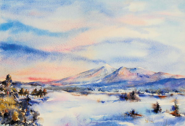 Marsha Owen, Dawn After Snowfall, watercolor, 15 x 22.