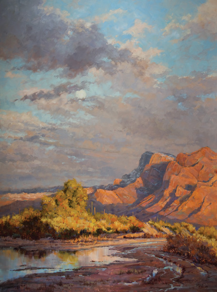 Darcie Peet, Daubed by Desert Rain, oil, 48 x 36.