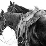Linda Phillips, Buckaroo Boys, graphite, 18 x 24.