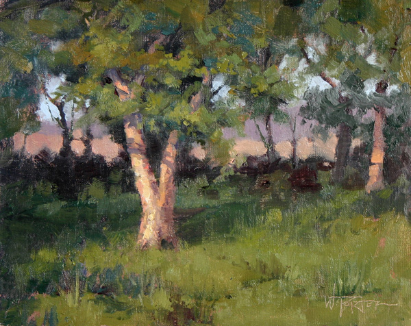 Walter Porter, Alone in the Orchard, oil, 8 x 10.