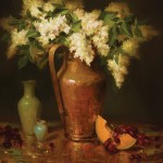 Elizabeth Robbins, Lilacs in Copper, oil, 24 x 22.