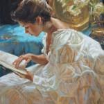 Gladys Roldan-de-Moras, The Good Book, oil, 30 x 24.