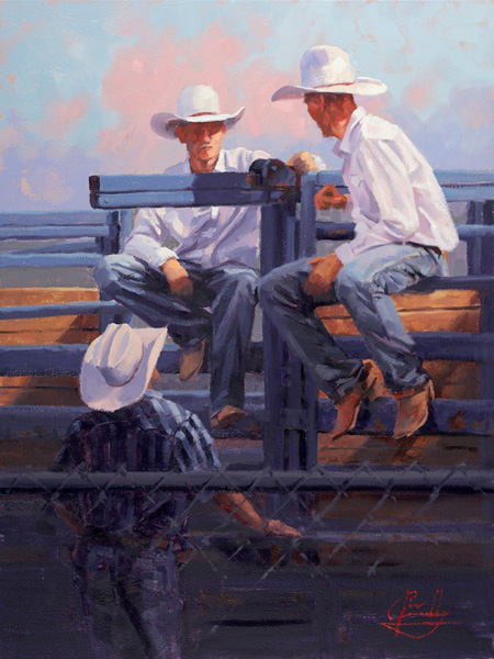 Jim Connelly, Shootin' the Breeze, oil, 12 x 16.