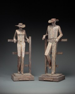 Jeannine Young, Kickin' Back and Quittin' Time, bronze, 21 x 8 x 9 and 22 x 8 x 9.