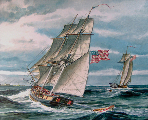 Robert Averill, U.S.S. Oneida Off Fort Niagara c. 1813, oil, 22 x 28.