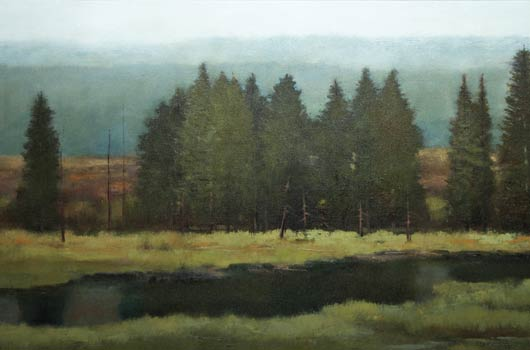 Shanna Kunz, Solace in Blue, oil, 24 x 48.