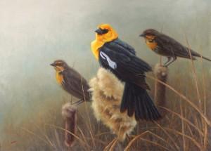 Greg Wilson, Spring Trio, oil, 13 x 18.