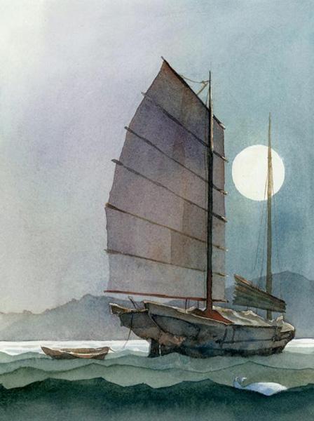 Robert Gantt Steele, Chinese Boat, watercolor, 10 x 8.