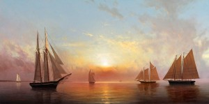 William P. Storck, Amistad, oil, 15 x 30.