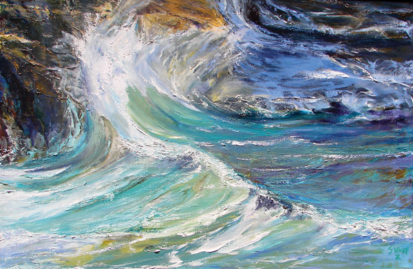 Sydney Zentall, Fluid Emotion, oil, 30 x 46.