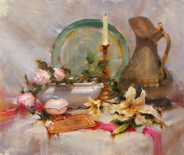 Richard Fillhouer   Brass Candlestick, oil, 14 x 20.