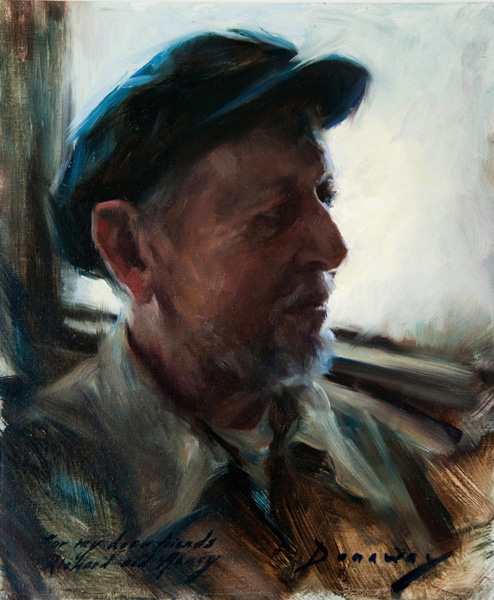 Michelle Dunaway | Portrait of Richard Schmid, oil, 12 x 10.