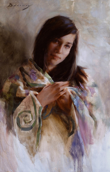 Michelle Dunaway | Strength and Grace—Her Grandmother's Quilt, oil, 28 x 18.