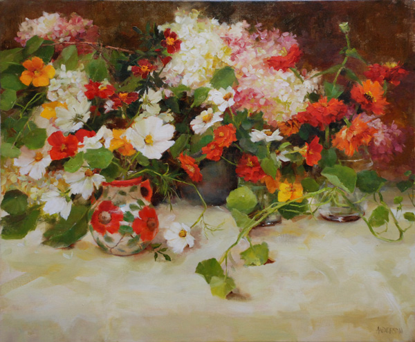Kathy Anderson | Autumn Still Life with Zinnias, oil, 20 x 24.