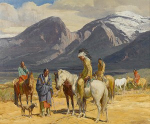 Oscar Berninghaus, Tracks on the Trail, oil, 25 x 30. Estimate: $100,000-$150,000.