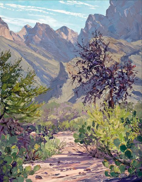 Carol Swinney, Cactus Trail, oil, 14 x 11.